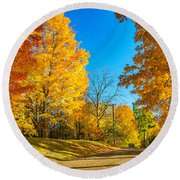 On A Country Road 6 Round Beach Towel