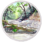 On A Mountain River Round Beach Towel