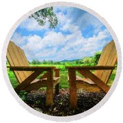 On A Pretty Summer Day Oil Painting Round Beach Towel