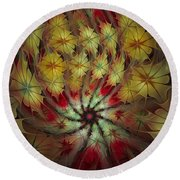 On A Windy Autumn Day Round Beach Towel