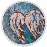 On Angel Wings Round Beach Towel