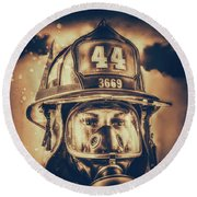 On Duty And Into Fire_dramatic Round Beach Towel