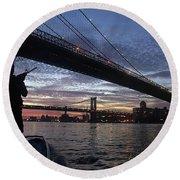 On Duty By Brooklyn Bridge New York Round Beach Towel