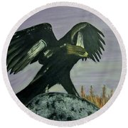 On Eagles Wings Round Beach Towel