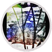 On Frozen Pond Round Beach Towel