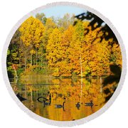 On Golden Pond 2 Round Beach Towel