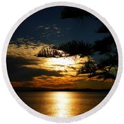 Golden Moments Round Beach Towel