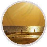 On Golden River Round Beach Towel