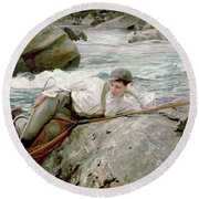On His Holidays Round Beach Towel by John Singer Sargent