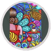 On My Mind Round Beach Towel