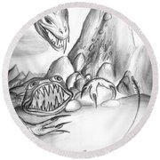 On Planet Of Monsters Round Beach Towel
