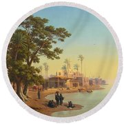 On The Banks Of The Nile Round Beach Towel