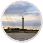 On The Beach At Cape May Lighthouse Round Beach Towel