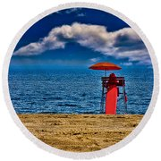On The Beach At Coney Island Round Beach Towel
