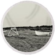 On The Beach - Avalon New Jersey In Sepia Round Beach Towel