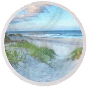 On The Beach Watercolor Round Beach Towel