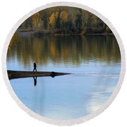 On The Bend Of The River Round Beach Towel