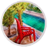 On The Canal Round Beach Towel