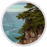 On The Cliff - Vertical Round Beach Towel