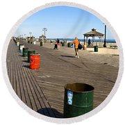On The Coney Island Boardwalk Round Beach Towel