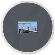 On The Dock Of The Bay Round Beach Towel
