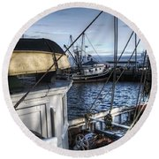 On The Docks In Provincetown Round Beach Towel
