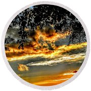 On The Edge Of Night Round Beach Towel