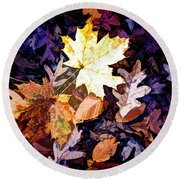 On The Forest Floor Vivid Colors Round Beach Towel
