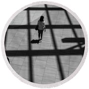 On The Grid Round Beach Towel by Eric Lake