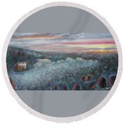 On The Hill At Greyfox Round Beach Towel