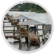 On The Hillsboro Canal Round Beach Towel