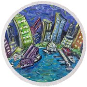On The Hudson Round Beach Towel