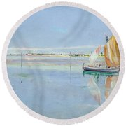 On The Lagoon Round Beach Towel by John William Inchbold