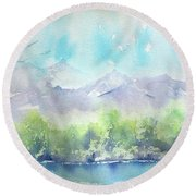 On The Lake Round Beach Towel