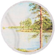 On The Lake In A Sunny Day Round Beach Towel