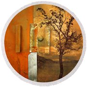 On The Other Side Of The Door Round Beach Towel