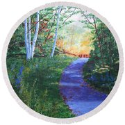 On The Path Round Beach Towel