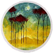 On The Pond By Madart Round Beach Towel