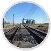 On The Right Tracks Round Beach Towel