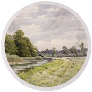 On The River Ouse Hemingford Grey Round Beach Towel