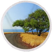 On The Road To Lapakahi Round Beach Towel