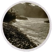 On The Rocks Bw Round Beach Towel