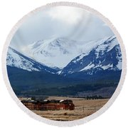 On The Rocky Mountain Front Round Beach Towel