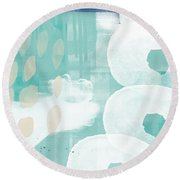 On The Shore- Abstract Painting Round Beach Towel