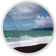 On The Shore Of Lake Ferry Round Beach Towel