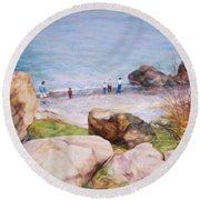 On The Shore Of The Ocean Round Beach Towel