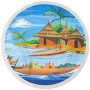 On The Shores Of Lake Kivu In Congo Round Beach Towel