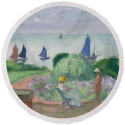 On The Terrace At Prefailles Round Beach Towel