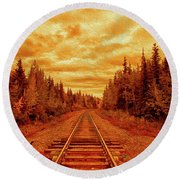 On The Tracks Round Beach Towel
