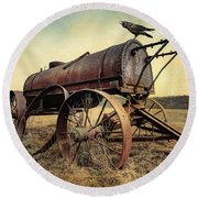 On The Water Wagon - Agricultural Relic Round Beach Towel by Gary Heller
